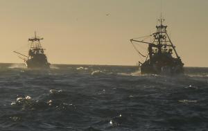 Pesqueros regresando al Puerto de Santa Marí, en Cádiz, a bajo el sol de Poniente