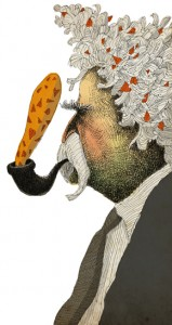 Mark Twain, visto por David Pintor, ilustrador de las entrevistas falsas de Víctor Márquez Reviriego